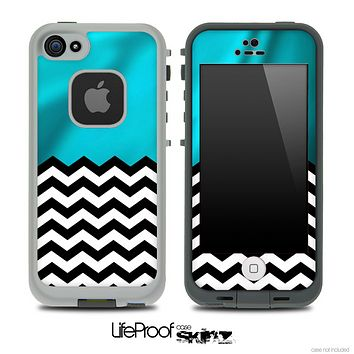 Mixed Wavy Turquoise and Chevron Pattern Skin for the iPhone 5 or 4/4s LifeProof Case