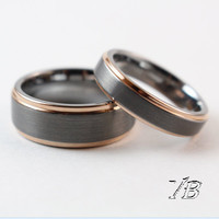 voguebands Tungsten Rings Brushed Center Step Edge Plate Rose Gold for men and women(8mm/5mm)