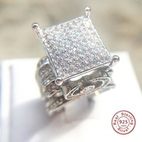 Luxury rings for women 925 sterling silver wedding ring Big sparkling aaa zircon Hollow-out jewelry bague female anillos gifts