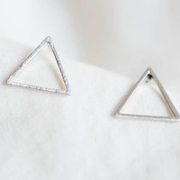 Tiny Hollow Triangle Earrings