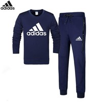 Adidas autumn and winter cotton plus velvet hooded trousers sportswear two-piece suit Blue