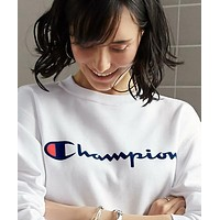 Champion Embroidery round collar sweater thickening sweater White