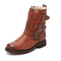 Valerie Shearling Strappy Boots