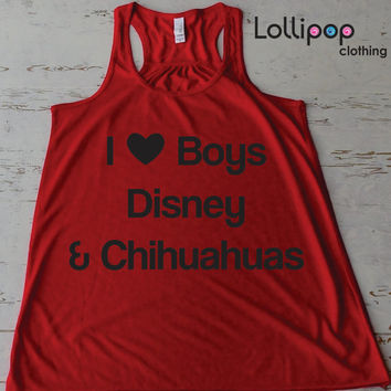 I Love Heart Boys Disney and Chihuahus Workout Running Tank. Exercise boot camp Tank top. Funny Sexy. Racer Back. Walt Disney parody