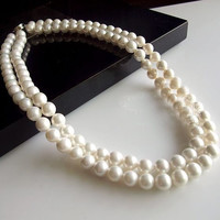 Layered Natural Seashell Pearl Necklace and Earrings Wedding Gift Jewelry-Earring Style Hook