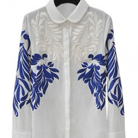 White Vintage Embroidered Shirt$39