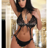 Sexy Lace Siamesed Lingerie Charming Clubwear LC3104 Black = 1932230980
