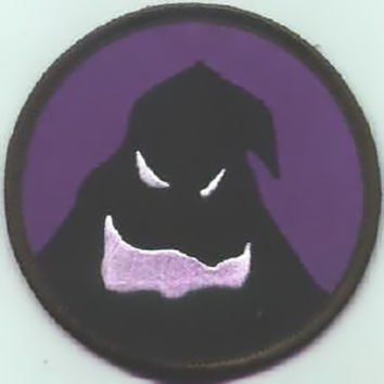 Nightmare Before Christmas Iron-On Patch Oogie Face Circle