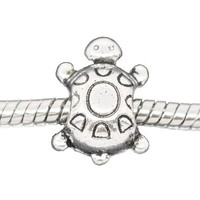 Antique Silver Turtle Bead Charm Spacer Bead Fits European Pandora Troll Pugster Other Type Bracelet
