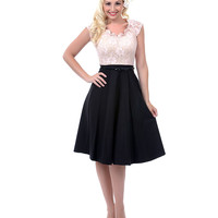 Stop Staring Dusty Pink Lace & Black Graceful Swing Dress - Unique Vintage - Prom dresses, retro dresses, retro swimsuits.
