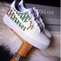 Dior x Nike Air Force 1 Sneakers Print Contrast Shoes Women Men Trending Shoes White+Black
