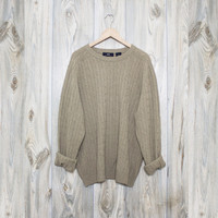 Vintage Oatmeal Biege Knit Oversized Sweater