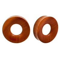 PAIR | LIGHT SAWO WOOD DOUBLE FLARED EAR HOLLOW EARLET TUNNELS