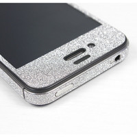 Nice Silver Cool Shiny Rhinestone Full Body Cover Skin Sticker Shield For iPhone 4/4S/5
