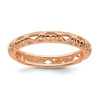 Sterling Silver Stackable Expressions Rose Gold Plated Carved Hearts Ring
