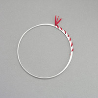 Silver thin bangle with red silk, Thin sterling silver cuff, Silver skinny stacking bangle bracelet with wild indian silk, everyday jewelry