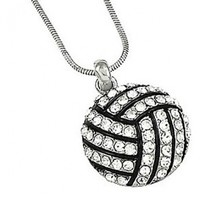 """PammyJ Silvertone Clear Crystal Volleyball Charm Pendant Necklace, 18"""""""