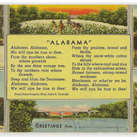 Alabama postcard | vintage postcard | greetings | poem | state song | Montgomery | southern decor | river | 1940s | linen postcard