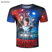2017 Fashion Stranger Things Print Funny Fitness Men T-Shirts 3D Character Design Mens T Shirts Summer Hipster Tops Homme Tees