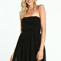 BLACK STRAPLESS GATHERED DRESS