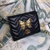 """Gucci"" GG Marmont Purse Women Fashion Metal Butterfly Rivet Quilted Genuine Leather Short Section Fold Wallet"