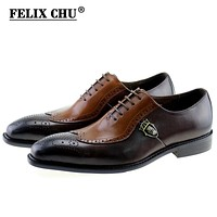 Lace Up Men Genuine Leather Men Wedding Wingtip Brogue Formal Dress Party Office Brown Oxford Shoes
