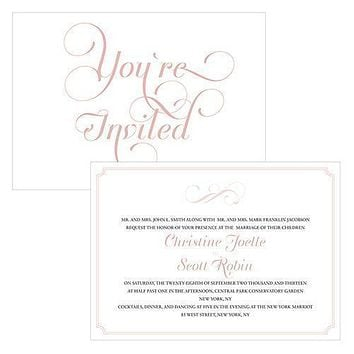 Expressions Invitation Vintage Pink Text With White Background (Pack of 1)