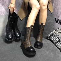 LV Louis Vuitton autumn and winter fashion thick-soled motorcycle boots