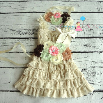 Country Flower girls dress/ Champagne Minty Pink Girl's Lace Dress set