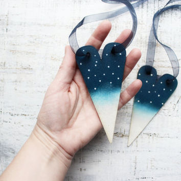 Winter night heart Christmas ornaments starry night midnight blue navy teal aqua white, Christmas decoration, Christmas tree decor