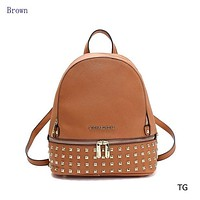 Michael Kors Fashion New Trend Casual Hundred Gold Studded Backpack Brown