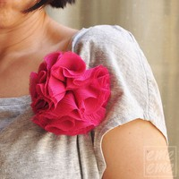 Brooch Pink flower by emeeme on Etsy