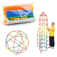 100/200pcs Assembled Building Blocks Toy Children Educational Colorful Plastic Straw Fight Inserted Blocks Christmas Gift