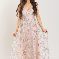 Sophia Blush Floral Applique Gown