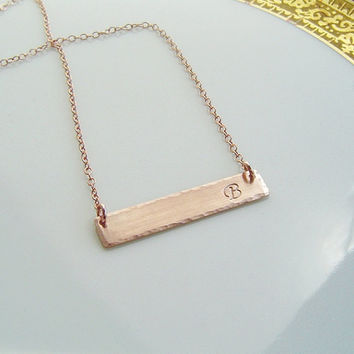 Personalized Rose Gold Bar Necklace . 14K Rose Gold fill Initial Bar, Monogram, Nameplate, Name Bar, Monogram Rectangle, Bridesmaid Gift,