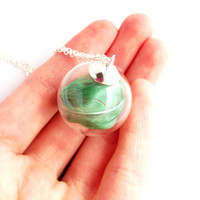 Glass Bubble Mint Feather Necklace by YouNaturally on Etsy