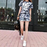 """Adidas"" Fashion Casual Multicolor Letter Print Short Sleeve Shorts Set Two-Piece Sportswear"
