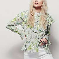 Free People Womens Molly Ruffle Printed Top