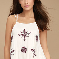 Bliss Season White Embroidered Crop Top
