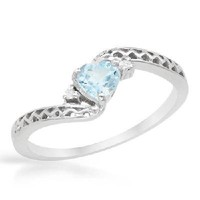 NEW 0.55 CTW Topaz Sterling Silver Heart Ring SIZES 7,8 FREE SHIPPING