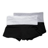 NEW Womens Contrast waistband Stretch Exercise Fold over Yoga Shorts