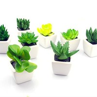 NAT 2Pcs Car Dashboard Ornament Simulating Plant Pot Fake Plant with White Stand(Green)
