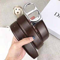 DIOR Fashion Woman Men Smooth Buckle Belt Leather Belt With Box