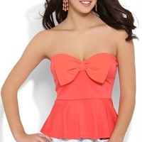 Strapless Peplum Top with Bow Bodice