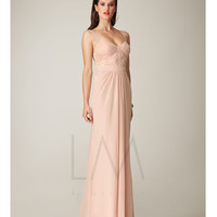 LM by Mignon HY1046 Pale Pink Bandage Bodice & Lace Back Dress 2015 Prom Dresses