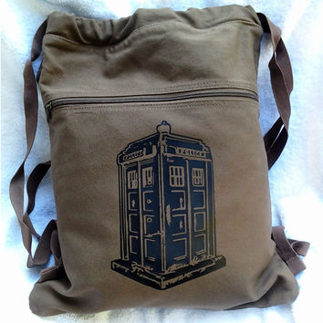TARDIS Backpack - Doctor Who Canvas Drawstring Book Bag