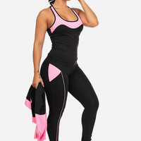 Cheap Trendy Pink Colorblock Workout Leggings in ACTIVEWEAR