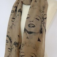 MARYLIN MONROE Print Taupe Maxi Scarf/Wrap/Shawl Great Gift from BellesFashion