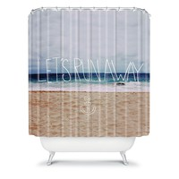 Deny Designs Leah Flores ''Let's Run Away'' III Fabric Shower Curtain (White)