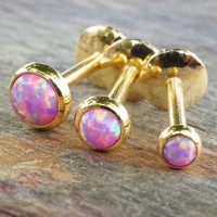 Gold Pale Light Pink Fire Opal 16 Gauge Cartilage Earring Tragus Monroe Helix Piercing You Choose Stone Size